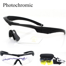 Auto Photochromic Military Goggles 3 lens Sunglasses Bullet-proof Army tactical Glasses shooting Eyewear Discoloration unisex c5 military glasses bullet proof army goggles sunglasses eyewear for outdoor hunting shooting airsoft bicycle goggle