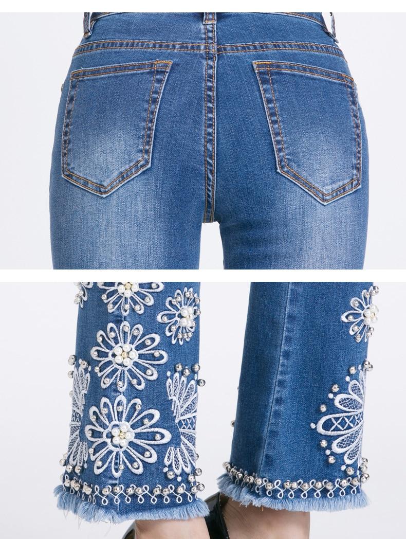 KSTUN FERZIGE Jeans Women Summer Slim Stretch Embroidered Flares Bells Ankle Length Pants Manual Beads Light Blue Elegant Ladies Girl 19