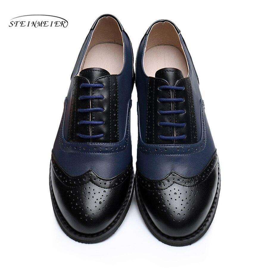 Genuine leather big shoes women US size 11 handmade flat black white 2019 vintage British style
