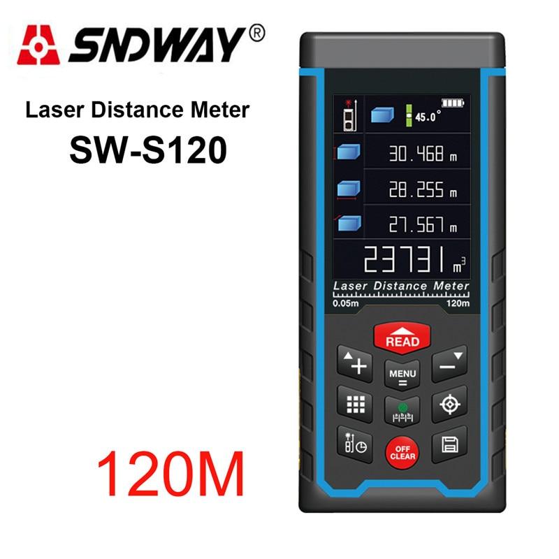 SW S120 Rechargeable 120m Color Display High Precision Laser Rangefinder Distance Meter Trena Laser Tape Measure