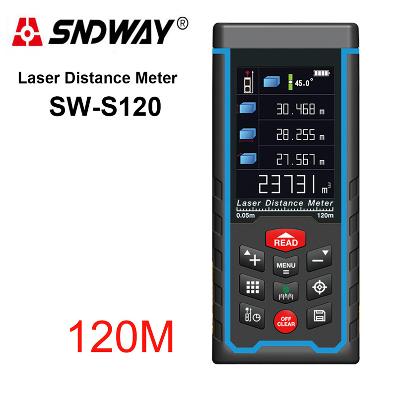 SNDWAY SW-S120 Rechargeable 120m Color Display High-Precision Laser Rangefinder Distance Meter Laser Tape Measure Diastimeter rechargeable color display high precision laser rangefinder distance meter tape measure with bubble level measure area volumes70