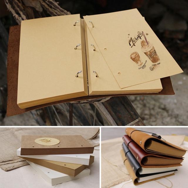 32K Vintage Black Cover 138 Blank Kraft Paper Sketchbook Journal Diary Note Book