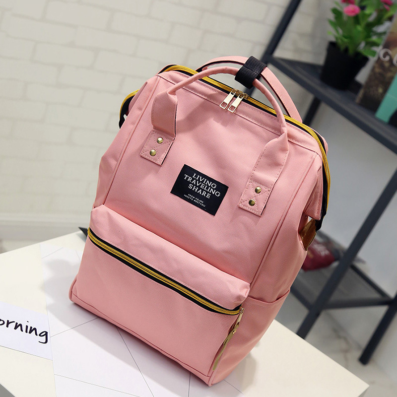 Solid Backpack School Travel Bag Double Shoulder Bag Zipper Bag Women Canvas Backpack School Backpack Teenage Girls Backpack