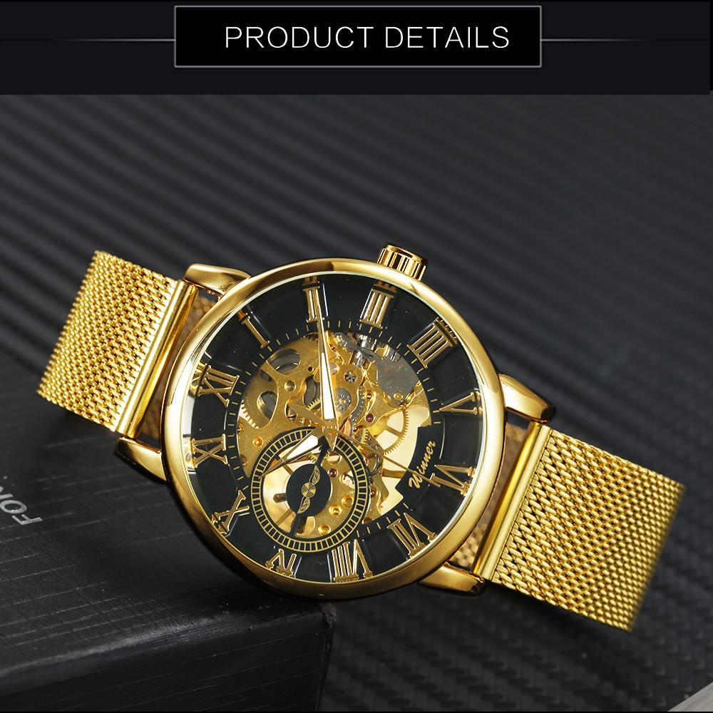 HTB1.bRtyY2pK1RjSZFsq6yNlXXaq WINNER Official Golden Automatic Watch Men Steel Strap Skeleton Mechanical Skull Watches Top Brand Luxury Dropshipping Wholesale