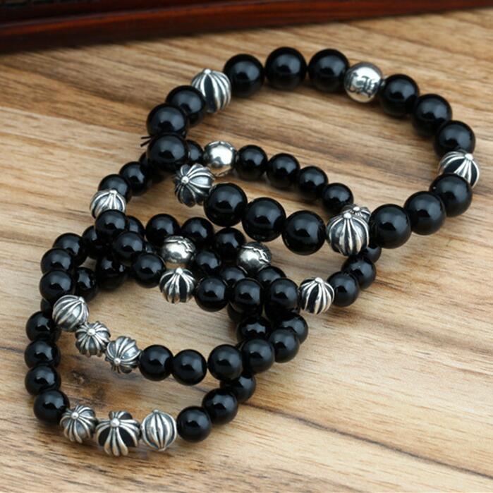 Серебро 925 Крест из бисера в черный оникс Камень браслет из бисера Для мужчин Для женщин 100% чистого серебра 925 Натуральный камень Для мужчин S...