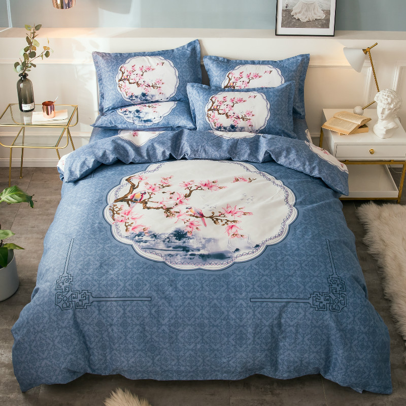 Creative Blue And White Porcelain Flowers Bedding Sets Bed Sheet Duvet Cover Pillowcase Set Bed Geometric Stripe Kids Adult