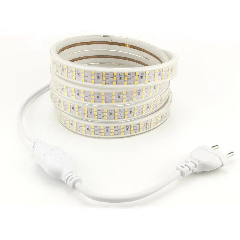 LED Strip Light Three Row 2835 276 led/m Ribbon Tape 220 V with European Standard Power Plug Flexible Stripe 1m 2m 3m 5m 10m 20m