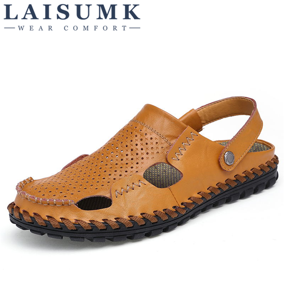 2018 LAISUMK Brand Mens Sandals Causal Shoes Genuine Leather Man Sandals Beach Shoes Fashion Summer Shoes Slippers Breathable