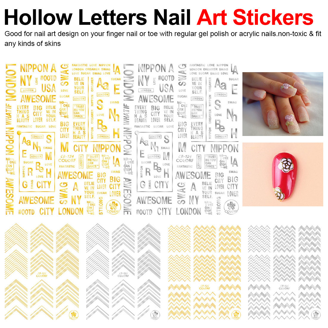 1pc Hollow Letters Nail Art Stickers 3D Black White Silver Gold Adhesive Decal Nail Wrap Decor Tips New Style(China)