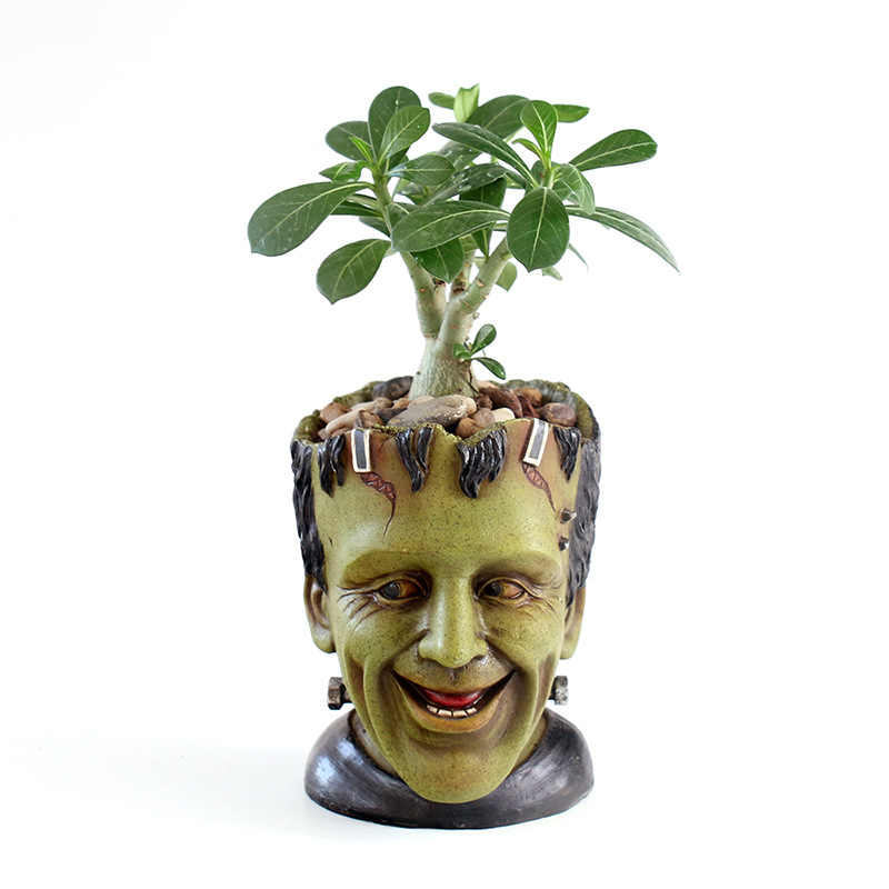 Frankenstein Pot Bunga Action Figure Toy Model Pena Pot Film Sosok Model Koleksi Hadiah Mobil Dekorasi