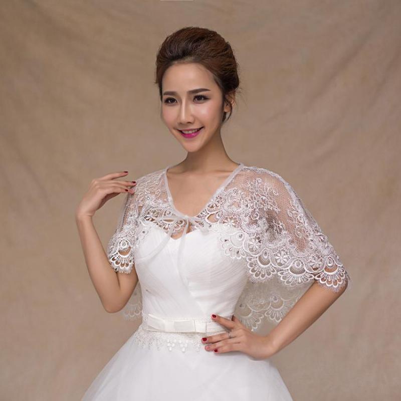Elegant Women Lace Bolero Stoles Summer Bridal Wraps Shawl Beading Wedding Jacket Coat Cape Mariage Wedding Accessories 05386