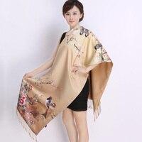 Novo 2017 mulheres Primavera cachecol mulheres de seda real lenço de seda cachecóis xale dupla longo cachecóis estilo Chinês Impresso cachecóis