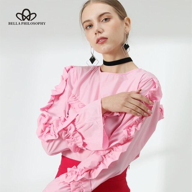 Bella Filosofia 2018 primavera estate increspature pullover camicetta delle donne del manicotto del chiarore della rosa donna shirt Top