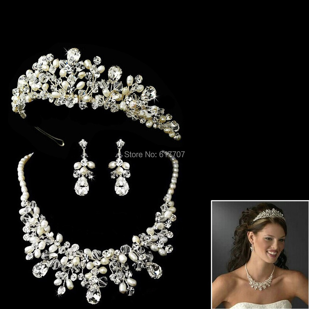 Bridal jewelry tiara - Aliexpress Com Buy Top Quality Eurpean Style 100 Handmade Pearl Necklace Earrings Tiara Bridal Jewelry Sets Crystal Wedding Jewelry Sets 3tl010 From