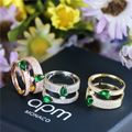 2016 new S925 sterling silver ring ring opening green fashion zircon wedding ring Christmas gift women jewelry