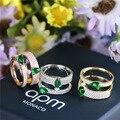 2016 novo anel de prata S925 esterlina anel de abertura moda verde zircon do anel de casamento presente de Natal mulheres jóias