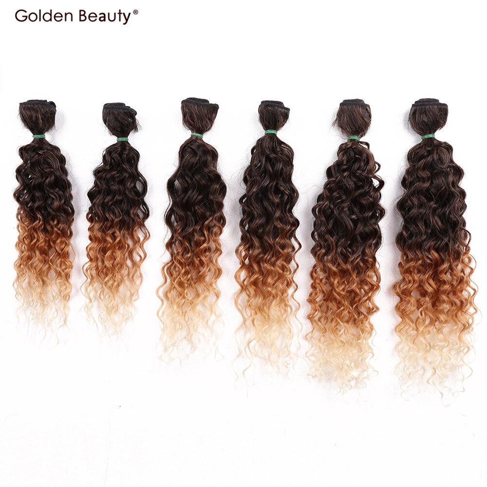 14-18inch Jerry Curly Hair Weave Coafură Sintetică în Extensii de Păr Ombre Pink / Blondă / Bujii Burgundă 6pcs / pachet Golden Beauty