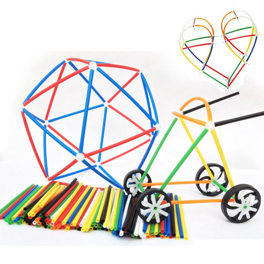 DIY Imagination Plastic Boys Girls 4D Straw Building Blocks Joint Funny Development Toys Do-It-Yourself Building Blocks t211