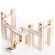 80 PCS Wooden Marble Track Blocks Diy Pipe Ball Toy Architecture Building Original and Fun Gifts Kids Brinquedo Menino