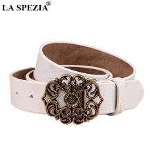 LA SPEZIA Vintage Belt Women Genuine Leather Metal Pin Buckle Ladies Classic Real Cowhide Female Jeans 115cm