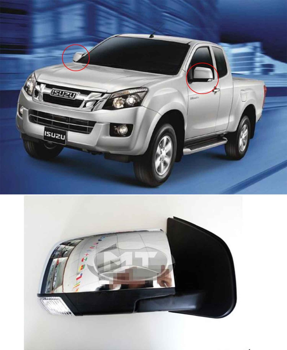 Car chromed electric folded side mirror assembly for isuzu dmax d max 2012 2013 2014