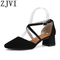 ZJVI women summer 5cm square heel sandals womens suede genuine leather woman black sandal cross tied shoes sandalias mujer 2019