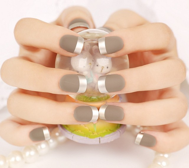 24Pieces French Manicure False Nail Tips Fashion Elegant Grandma ...