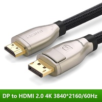 Displayport to HDMI Cable M/M DP to HDMI 2.0 Adapter Converter 4K Video Audio Cable for HDTV Projector Laptop 3840*2160 60Hz