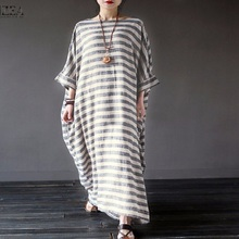 Elegant dress women do old cotton-and-hemp striped robes literary and loose long dresses Vintage baggy