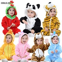 DHL EMS Free Shipping Infants Baby Boys Kids Fleece Cartoon Romper 9 Colors 70 80 90