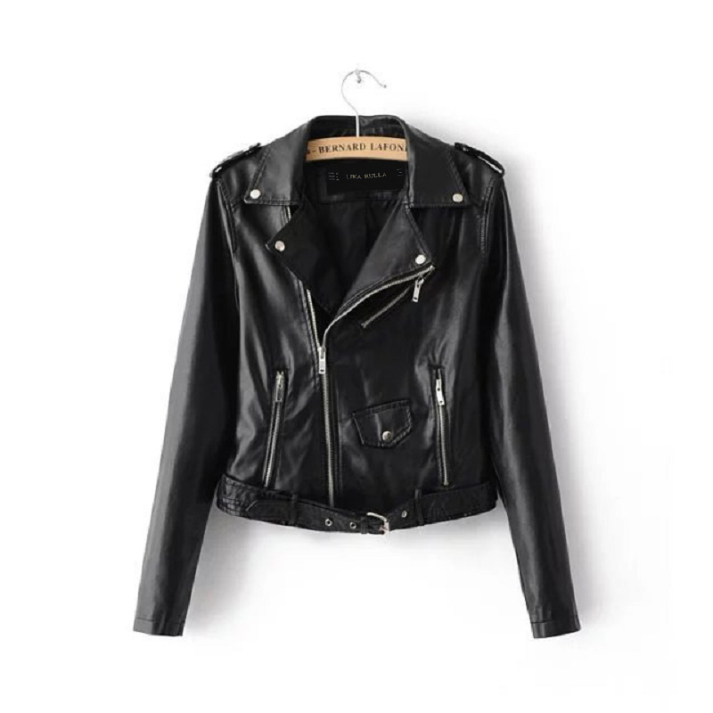 Women Candy Color Faux PU   Leather   Short Motorcycle Jacket Zipper Pockets Sexy Punk Coat Ladies Casual Outwear Tops Casaco