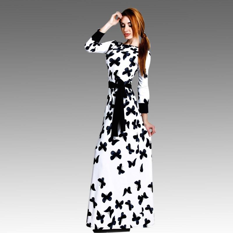Elegant Animal Butterfly Print Dress Plus Size Cotton Maxi Dress ...