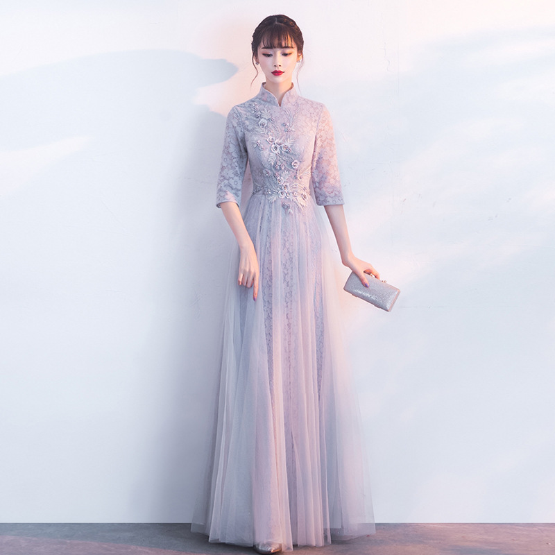 Evening Dress 2 019 New Chinese Bridesmaid Dress Banquet Vintage Long Dignified Atmospheric Chinese Style Dress