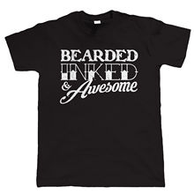Bearded Inked & Awesome Mens Funny Beard T Shirt - Hipster Tattoo Gift for Dad  Tops Tee New Unisex free shipping