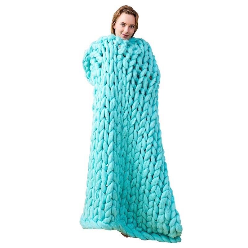 Suave Gigante de Línea Gruesa Manta de Hilo de Punto Tejido A Mano accesorios de Fotografía Tejer Mantas Mantas CrochetLlinen Suave P20