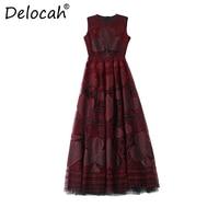 Delocah летние модные дизайнерские Макси длинное платье Для женщин без рукавов элегантные вечерние Лоскутные Винтаж платье с вышивкой