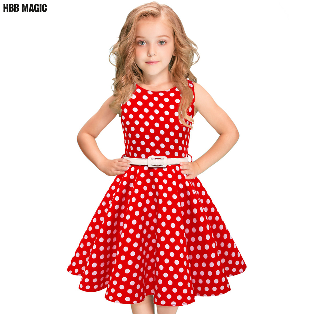 Polka Dot Kids Girls Summer Dress Children Clothing Sleeveless Princess Cotton Dress Girl Audrey 1950s Vintage Swing Party Dress polka dot slit hem contrast dress
