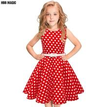 Polka Dot Kids Girls Summer Dress Children Clothing Sleeveless Princess Cotton Dress Girl Audrey 1950s Vintage Swing Party Dress