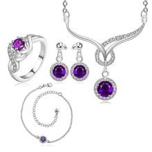 LKNSPCS784-C 2015 silver plated ladies's jewelry sets beautifully stones series fashion women' necklace,ring,chain, pendant sets