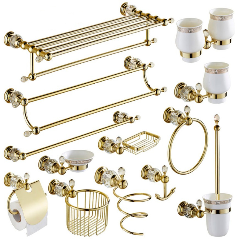Gold Crystal Towel Rack European Bathroom Hooks Hardware Suite Bathroom Brass Shower Basket Towel Ring Bathroom Accessories