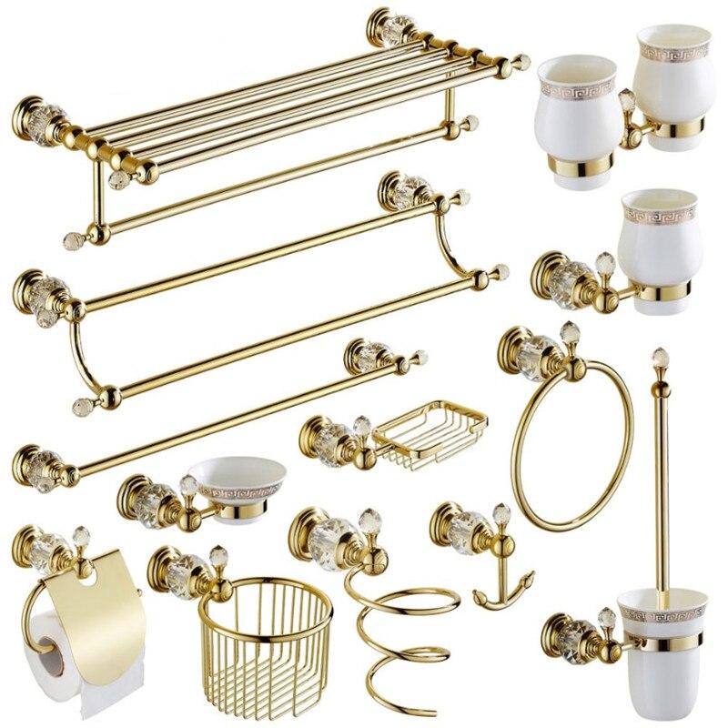 Gold Crystal Towel Rack European Bathroom Hooks Hardware Suite Bathroom Brass Shower Basket Towel Ring Bathroom Accessories