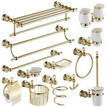 Cristal de oro Toallero Europeo Bastidores Baño de Hardware Baño de Cobre Toallero Accesorios de Baño Anillo Toalla YM057