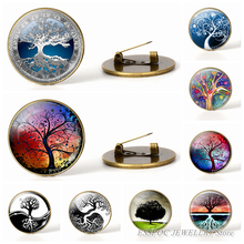 Tree of Life Simple Style Brooches Glass Cabochon Jewelry Bronze Art  Paintings Pins for Women Gifts
