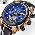 Мужские часы LIGE Топ бренд класса люкс бизнес автоматические механические часы мужские кожаные 30 метров водонепроницаемые часы Relogio Masculino