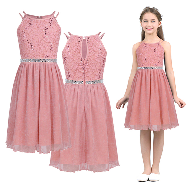 6 14 Years Kids Girls Sleeveless Sequined Floral Lace Shiny Princess Tulle Dress for Birthday Party Summer Prom Clothes