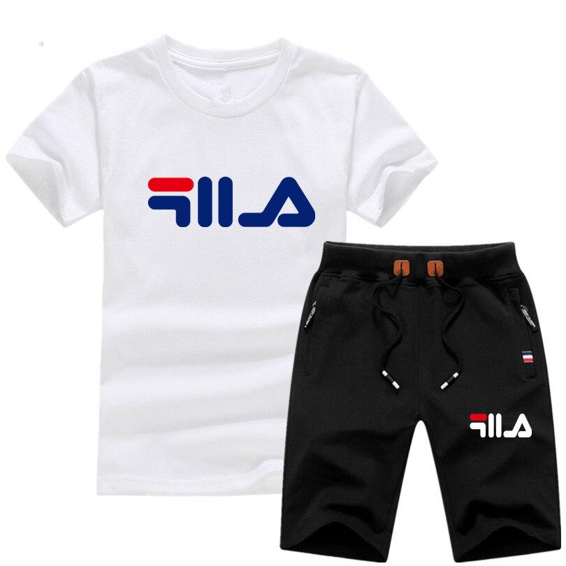 2019 Nuovo A Due Pezzi Da Uomo Manica Corta T Shirt Ritagliata Top + Shorts Tute Degli Uomini Causale Sportivo Magliette E Camicette Pantaloni Corti S-2xl Alta Resilienza