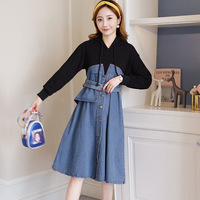 Spring Autumn Women Denim dress 2019 New Plus size Long Sleeve Hooded Thin Stitching Pregnant Jeans dress Loose Ladies dresses
