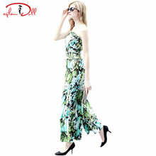 2017 Spring Green Floral Print Overalls Strapless Loose Women Cloth Wide-Leg High Waist Casual Long Jumpsuits