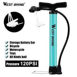 Image 3 - WEST BIKING – pompe à Air en acier, 120 psi, Turquoise, cyclisme, Valve Schrader Presta, pour pneus de vélo, vtt