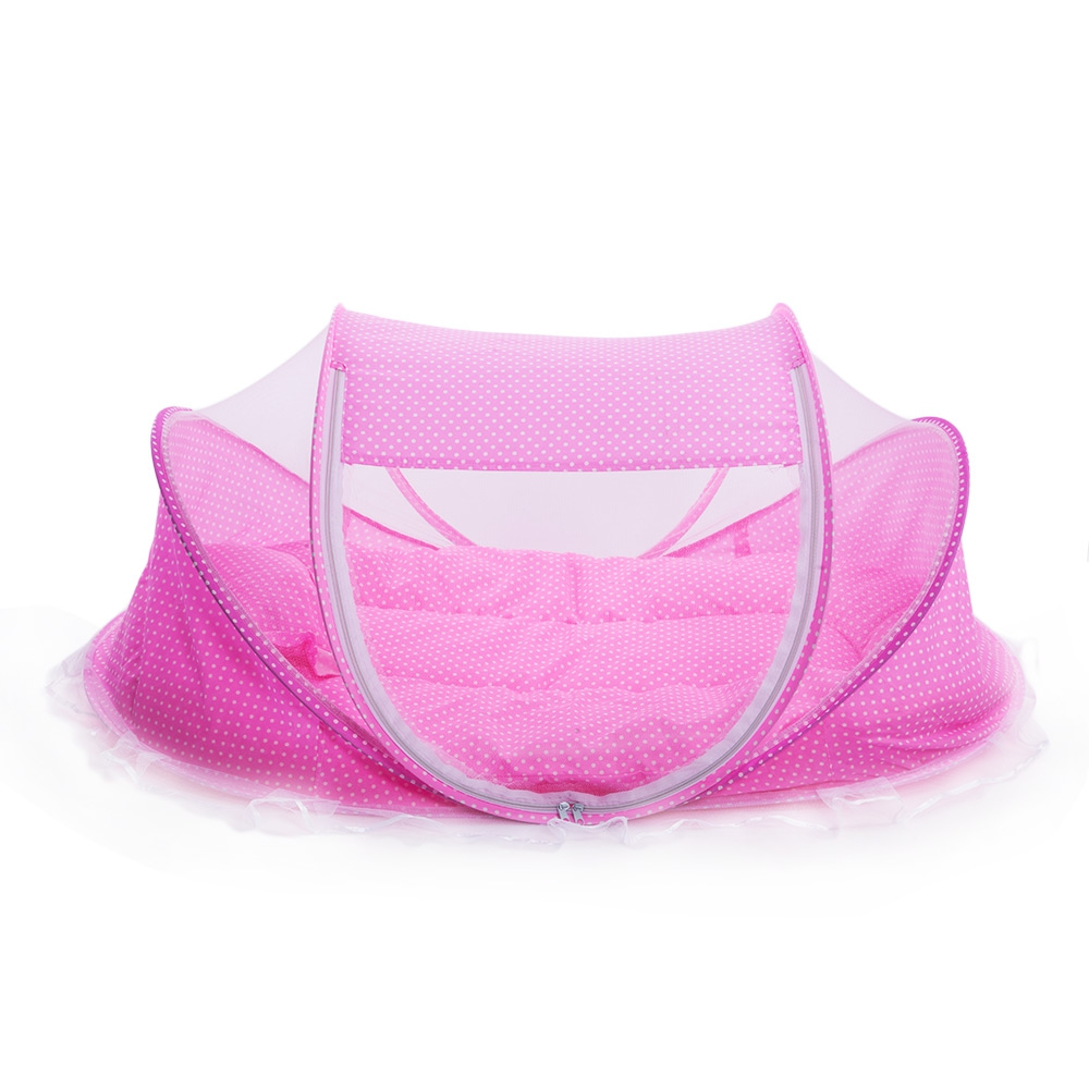 4Pcs/set Portable Type Kids Comfortable Babies Travel Bed Sealed Mosquito Net Mattress Pillow Mesh Bag